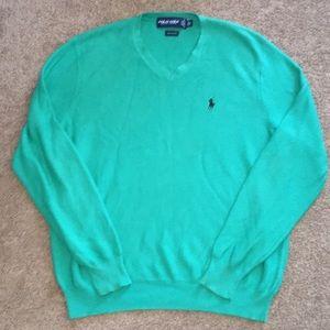 Polo Golf Ralph Lauren Green V-Neck Cotton Sweater
